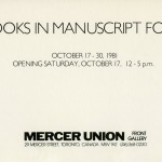 Books in Manuscript Form. Group show. Invitation.