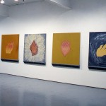 """From left to rght: Margaret May. """"Leaf."""", """"Crown."""", """"Seed."""", """"Flower."""", """"Hand."""" Vital Flame Series. Installation view. West Gallery. Photo: Peter MacCallum"""