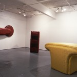 From left to right: Michel Archambault. Soft Circular Red., Sculpture Debout and Yellow Shape. Installation view. West Gallery. Photo: Peter MacCallum
