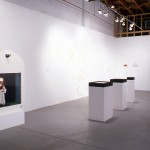 From left to right: Tamara Stone. Come Expecting Miracles., Reanne Estrada. Sweet Tooth., Sarah Skapin. Misogamy Video #2. Installation view. Front Gallery. Photography by Brian Piitz.
