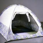 Leah Garnett, Private Planetarium, sheets, black out drapery fabric, cushions, tent poles, 2003-2004
