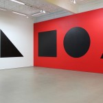 Sol LeWitt, Wall Drawing #349, 1981. Ten geometric figures in black india ink on walls painted red, yellow, blue, white. First executed at Mercer Union in March 1981. Installation view of the second installation at Mercer Union in July 2010. Detail of South and West walls.