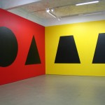 Sol LeWitt, Wall Drawing #349, 1981. Ten geometric figures in black india ink on walls painted red, yellow, blue, white. First executed at Mercer Union in March 1981. Installation view of the second installation at Mercer Union in July 2010. Detail of West and North walls.