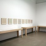 Installation view of back gallery exhibition of books and ephemera by Sol LeWitt