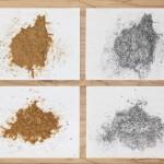 Kerri Reid, Sawdust Piles, 2008-09. Loose sawdust, ink on paper. Photo: Toni Hafkensheid.