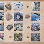 Kerri Reid, Souvenir Return (Manitou Beach), 2012. Collected rocks, photographs of handmade earthenware copies in-situ. Photo: Toni Hafkensheid.