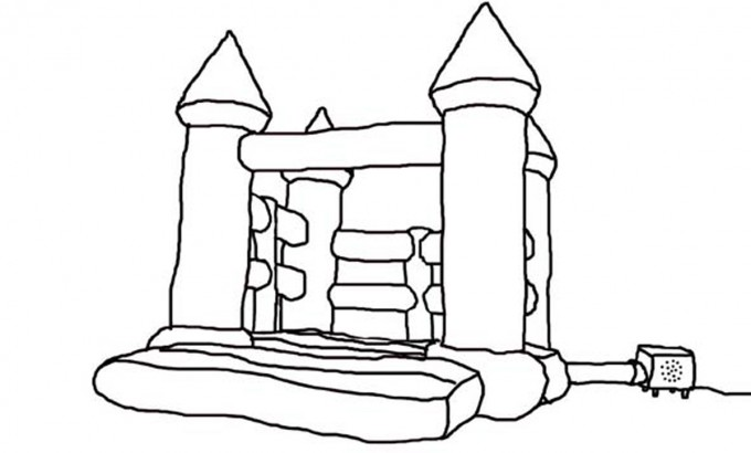 how to draw a bouncy castle step by step