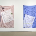 Tiziana La Melia, (from left)The Eyelash and the Monochrome (Spread 1) and The Eyelash and the Monochrome (Spread 2), both 2014, Dye sublimation print, silky faille. Photo: Toni Hafkenscheid
