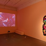 Back gallery installation view; Back wall: Marcelline Mandeng, Playstation, 2017, installation incorporating video and performances on 23 February; Right: Lido Pimienta, The hand that feeds 5, 2017, felt and embroidery thread on muslin. Photo credit: Tony Hafkenscheid.